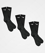 Nike SB Everyday Lightweight Black 3 Pack Crew Socks