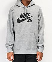 Nike SB Icon Grey & Black Hoodie