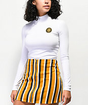 Ninth Hall Sammie White Mock Neck Crop Top