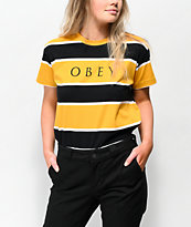 Obey Acid Box Black & Yellow Stripe T-Shirt