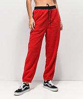 Obey Alpine jogger pantalones deportivos de polar rojo