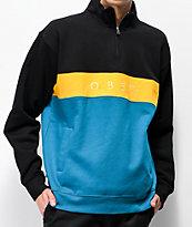 Obey Chelsea sudadera con media cremallera negra, amarilla y azul