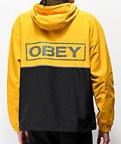 Obey Outlander chaqueta anorak amarilla y negra