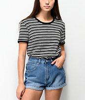 Obey Pratt camiseta tejida negra y blanca de rayas