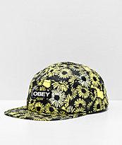 Obey Rapids Black & Yellow 5 Panel Strapback Hat