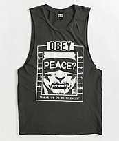 Obey Speak Up Black Tank Top