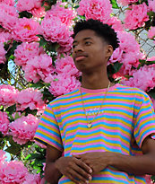 Odd Future OF camiseta de rayas rosas, azules y amarillas