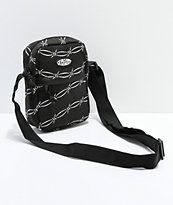 Petals and Peacocks Black Barbed Wire Shoulder Bag
