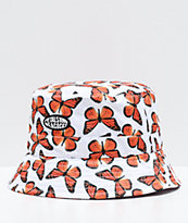 Petals and Peacocks Butterfly Effect White Bucket Hat