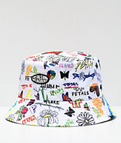 Petals and Peacocks Drawing Board White Bucket Hat