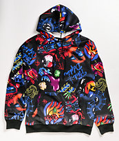 Pink Dolphin Airbrush Hallucinations Black Hoodie