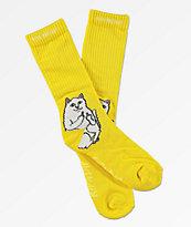 RIPNDIP Lord Nermal Yellow Crew Socks