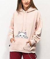 RIPNDIP Peeking Nermal sudadera con capucha rosa claro