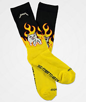 RIPNDIP Welcome To Heck Black & Yellow Crew Socks