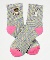 RIPNDIP x Teddy Fresh Lavender & Pink Speckled Crew Socks