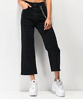 Ragged Jeans Grip Chain Crop Black Jeans