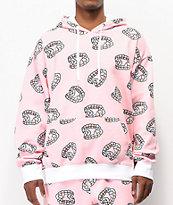 Salem7 Fangs Allover sudadera con capucha rosa