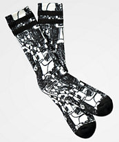 Santa Cruz Kendall Catalog Black & White Crew Socks