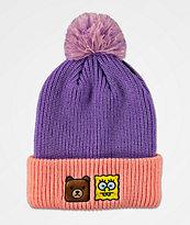 Teddy Fresh x SpongeBob SquarePants Purple & Pink Pom Beanie