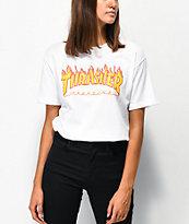 Thrasher Flame Logo White Boyfriend Fit T-Shirt