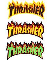 Thrasher pegatina con llamas