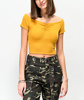 Trillium Blaine Yellow Off The Shoulder Crop Top