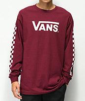 Vans Classic Checkerboard Burgundy Long Sleeve T-Shirt
