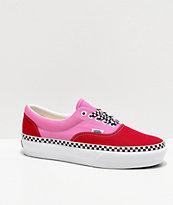 Vans Era Checkerboard Foxing Chili Red & Pink Platform Shoes