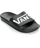 Vans Logo Slide-On sandalias negras y blancas