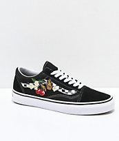 Vans Old Skool Black & White Checkered Floral Skate Shoes