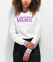 Vans Skate Check White & Purple Long Sleeve T-Shirt