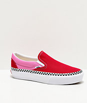 Vans Slip-On Checkerboard Foxing Chili Red & Pink Platform Shoes
