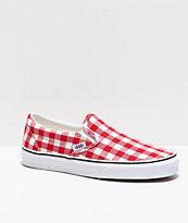 Vans Slip-On Picnic Red & White Checkerboard Skate Shoes