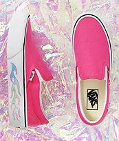 Vans Slip-On zapatos skate rosas con plataforma de llamas