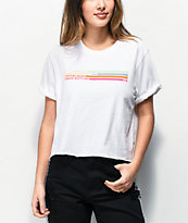 Vans Striped Roll Out White Crop T-Shirt