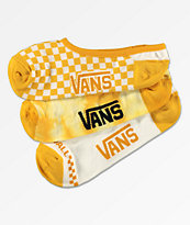 Vans Yellow Check 3 Pack No Show Socks