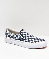 Vans x Independent Slip-On zapatos de skate de cuadros azules y blancos