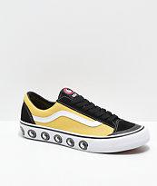 Vans x T&C Surf Designs Style 36 zapatos de skate negros, amarillos y blancos