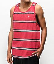 Volcom Beauville camiseta roja sin mangas de rayas