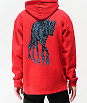 Welcome Maned Woof sudadera con capucha roja