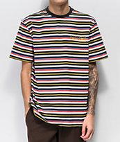 Welcome Surf camiseta de rayas rojas, azules y amarillas