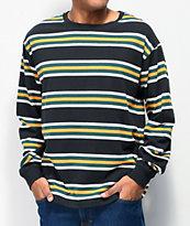 Zine Newbie Striped Black & Green Long Sleeve T-Shirt