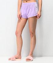 adidas Glow shorts morados de 3 rayas