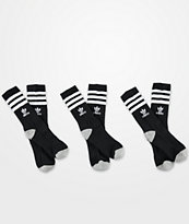 adidas Originals Youth Roller Black 3 Pack Crew Socks