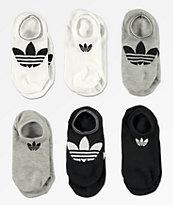 adidas Superlite paquete de 6 calcetines invisibles negros y blancos