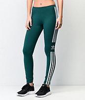 adidas Trefoil Collegiate leggings verdes y blancos