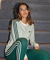adidas Vapour camiseta verde de manga larga de 3 rayas