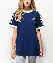 adidas camiseta azul oscuro de 3 rayas