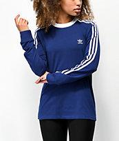 adidas camiseta de manga larga azul oscuro de 3 rayas