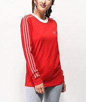 adidas camiseta de manga larga escarlata de 3 rayas